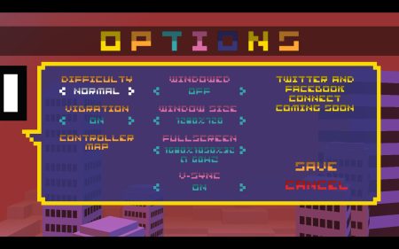 Option menu for BIT.TRIP RUNNER
