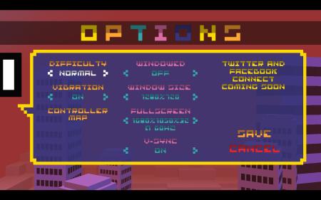 Option menu for BIT.TRIP RUNNER