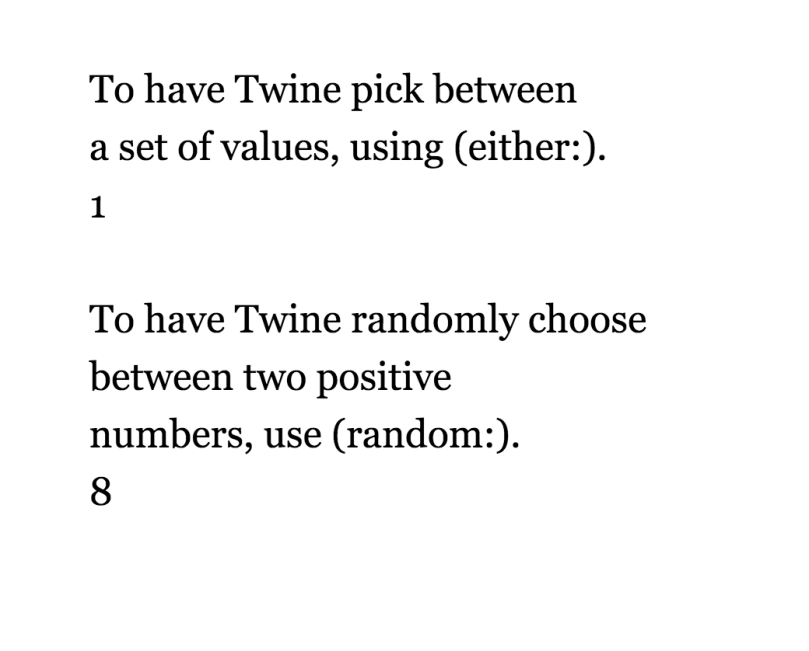 Twine Either and Random Macro Usage