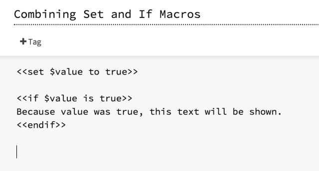 SugarCube Set and If Macros