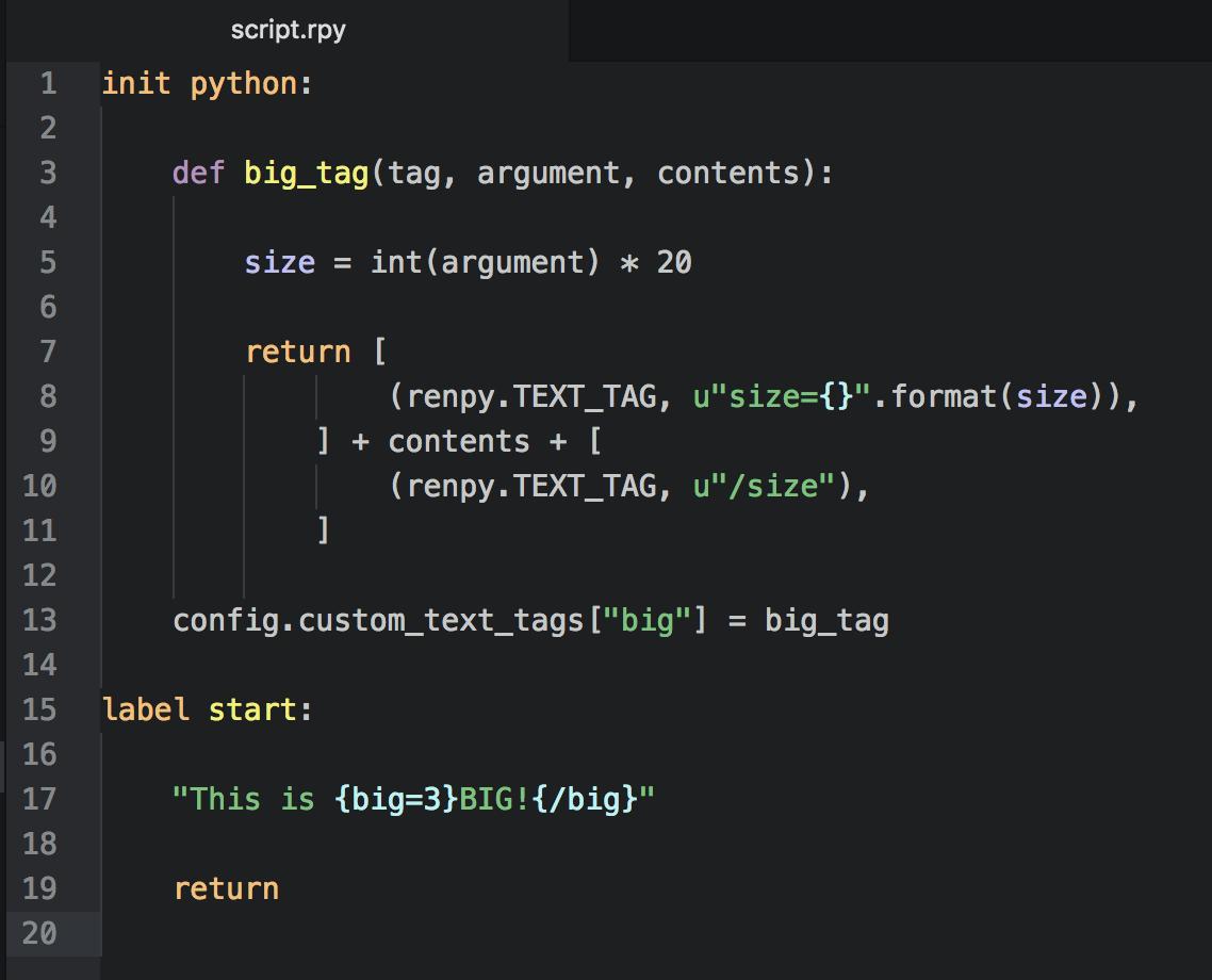 Ren'Py + Python: Part 5: Custom Text Tags – Digital Ephemera